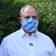 Wiederverwendbare Alltagsmaske  kleine Bayern-Raute weiß-blau Gott mit dir, du Land der Bayern