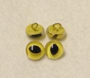 Lackösenaugen KATZE 9mm, Glas, gelb (aus den Jahr 1970)