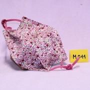 Wiederverwendbare Mund- und Nasen-Behelfsmaske rosa kleine Blumen aus doppellagigem Baumwollstoff