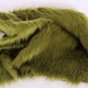 Vintage langfloriger Haarplüsch oliv-grün 40 x 40 cm